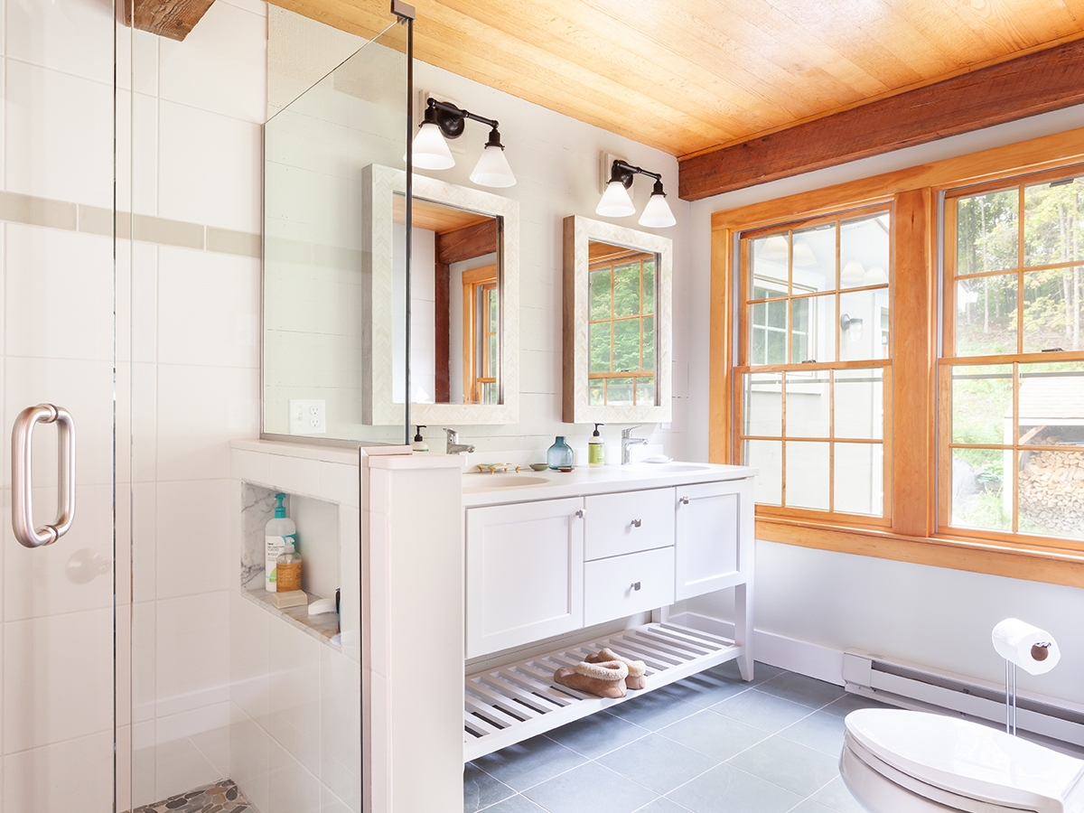 double vanity and custom alcove shower